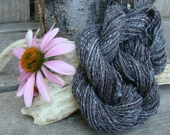 Hand Spun Black Llama and Silk Blend Yarn