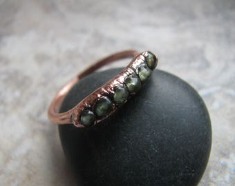 Peridot and Copper Electroformed Ring, One of a Kind (OOAK), Size 7 1/4 US Toniraecreations