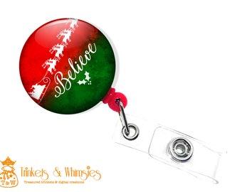 Believe Christmas Retractable ID Badge Holder