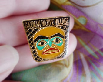 Saxman  Native Village Pin, Alaska Pin, Free Shipping, Pacific Northwest, Native American, Saxman Native, Hat Pin