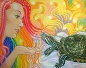 "Pet Turtle Artwork, 11"" x 14"" Custom Original"