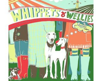 Whippets and wellies Greeting card by Kate Cooke