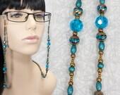 Aqua and Bronze Eyeglasses Chain / Beaded Glasses Chain / Blue Eyeglass Chain