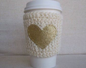 Ivory Coffee Cozy with Gold Glitter Heart, Mug Sweater, Coffee Cozy, Coffee Sleeve, Mug Cozy