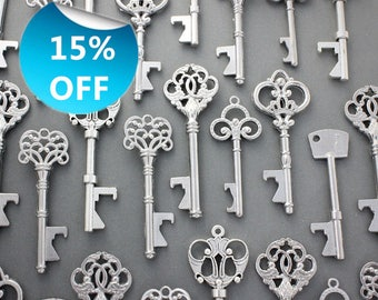 100 Pcs Antiqued Silver Skeleton Keys bottle openers Mix