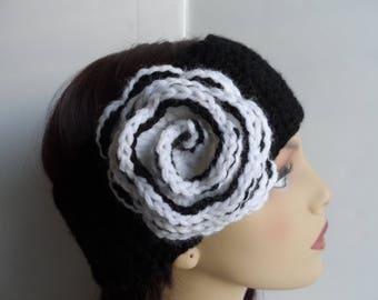 Black crochet earwarmer with flower, womens crochet headband, earmuff, crochet headwrap, black and white flower head band