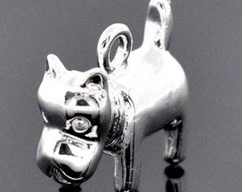 1 semi argent.17mm x 14mm 3D dog pendant charm