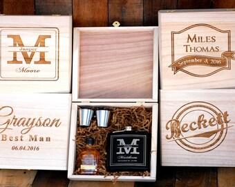 Gifts for Groomsmen, Engraved Flask, Custom Flask Set for Groomsmen, Personalized Flask Groomsmen Gift Box, Groomsmen Flask Set