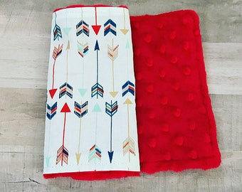 ARROW BURP CLOTHS • Multi-Color • Burp Cloths • Burp Rags • Gender Neutral Baby • Red Mint Gold • Minky • Baby Shower Gifts • BizyBelle