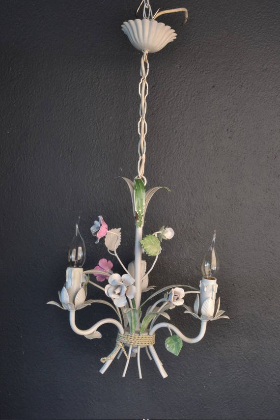 Beautiful painted toleware chandelier with metal roses