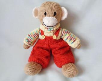 Monkey, Hand Knitted Monkey, Toy Monkey, Dressed Monkey, Nursery Toy, Soft Toy, Baby Gift, Child Gift, Nursery Decor