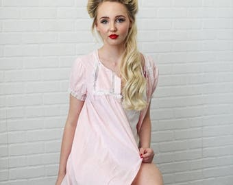Sexy Summer Sale Soft Pale Pink Short Button Front Mini Pleated Yoke Detail Night Puff Sleeve Gown by Barbizon size Small - Medium