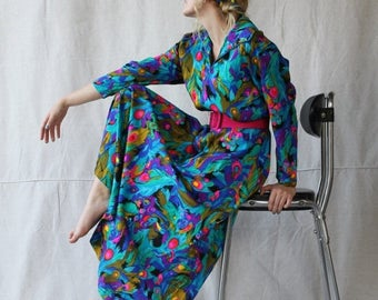 Sexy Summer Sale 1960- 70's Abstract Peacock Print Maxi-House Dress/ Robe with Matching Sash by Ter - She