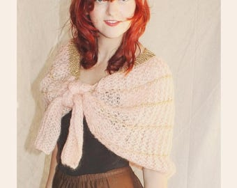 Spectacular Sale 25% off Blush Coral/Pink Crochet Shawl Cape by Mantessa, made in Italy