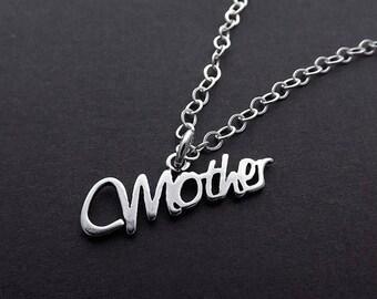 END Of SUMMER SALE Sterling Silver Necklace - Mother Script Pendant