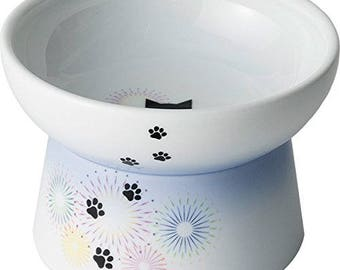 From Japan Cat Food Bowl with Hanabi Ceramic Nekoichi
