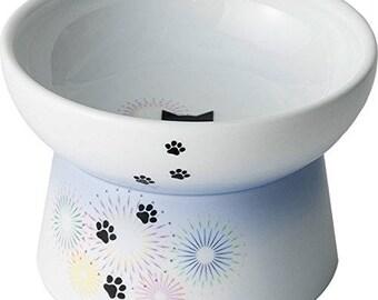 From Japan Nekoichi Ceramic Cat Food Bowl with Hanabi