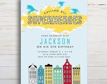 Superhero, Printable Birthday Invitation