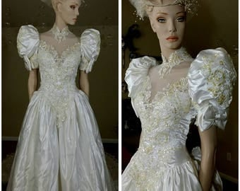 Vintage 90s white and gold sequins wedding gown w/ train by Demetrios size 6