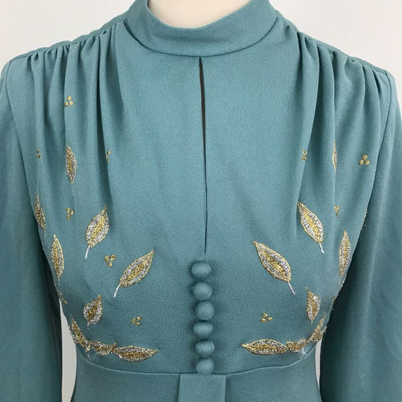 Vintage maxi dress turquoise teal 1970s glam style disco UK 10 12 long sleeves 70s silver gold leaf ebroidery crepe jersey