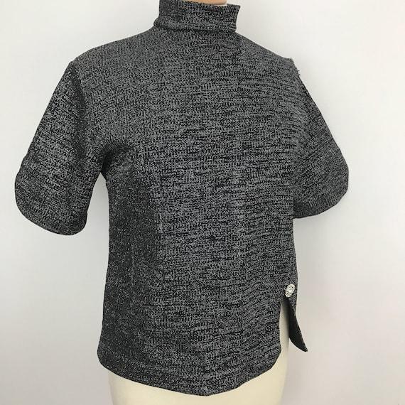1960s vintage top black silver sparkly crimplene tunic short sleeves lurex knit UK 16 scooter Girl Mod vintage wedding party blouse