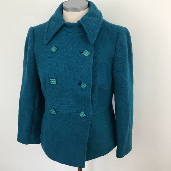 Mod jacket 1960s vintage wool peackock blue coat UK 10 tailored suit top scooter girl boucle wool coat double breasted
