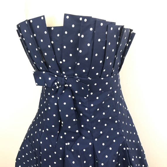 Vintage boned dress blue spotted navy strapless cocktail gown pleated midi flared party prom wedding spotty UK 14 spotty