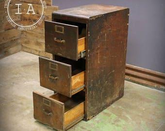 Vintage Industrial 3 Drawer Wooden File Cabinet