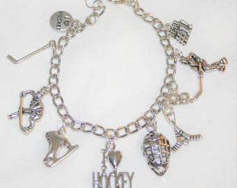 Hockey Charm Bracelet, I Love Hockey Bracelet, Hockey Bracelet, Hockey Jewelry, Hockey Player Gift, Girls Hockey, Hockey Coach Gift
