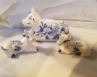 Vintage Blue and White Cow Butter Dish and Salt and Pepper Set.