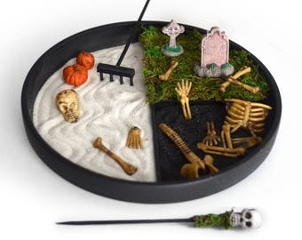 Halloween Decor // Zen Garden // Gothic Gift // Spooky // Skeleton Bones // Cemetery // Skull // Tombstone // Haunted Fairy Garden // Office