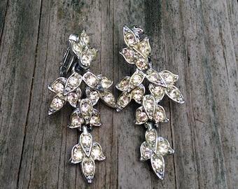 60's pave rhinestone drop clip-on earrings