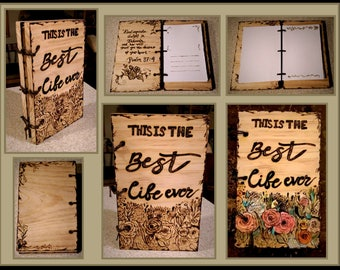 Wood Anniversary gift, five year anniversary,husband gift,wife gift,retirement gift,photo album,journal,Memory Book,Guest Book, journals