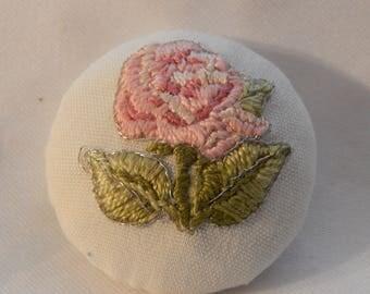 Rose Applique Fabric Button