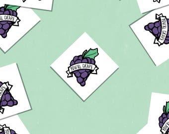 "You're Grape! Set of 3 Diamond Fruit Vinyl Stickers 2.5"""