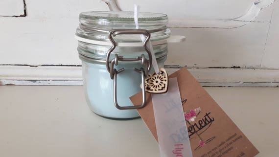 Hyacinth candle. Kilner style jar. Beautiful soy wax candle scented with hyacinth.  Vegan candles.  Eco soy.  Made in Wales UK