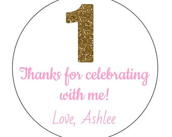 12 Gold Number 1 Stickers, Celebrating Stickers, First Birthday, Gold One, Thank You Labels, Gold and Pink, Birthday Stickers, Party