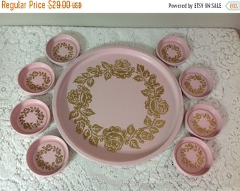 4th of July sale Vintage Round Serving Tray With 8 Matching Coasters Pink and Gold Serving Tray