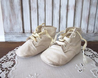Vintage baby shoes white leather design display planter repurpose baby shower decor .