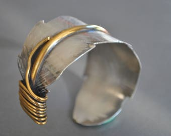 Feather mixed metals sterling silver cuff ,  sterling and brass bracelet, metal work, boho, unisex