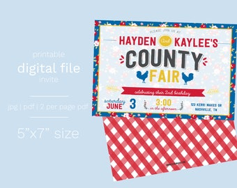 County Fair Birthday Invitation DIGITAL FILE vintage gingham floral county fair birthday party invite farm party barnyard animal petting zoo
