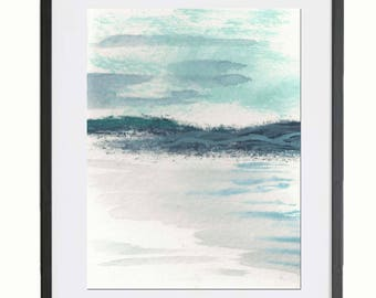 Teal Mountains and Water, Watercolor and Acrylic Print, Abstracted Ocean, Shades of Blue