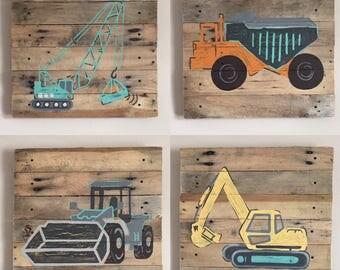4 Piece Construction Set,4. 21X21 inch square signs,Construction Theme,Wall Decor,Dump Truck,Back Hoe,Bulldozer,Cement truck