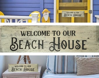 Welcome To Our Beach House Sign, wood sign, welcome sign, indoor sign, outdoor sign