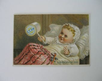 Victorian Trade Card - Clark's ONT Spool Cotton - A Favorite With the Ladies - Baby with Rattle - 1800's