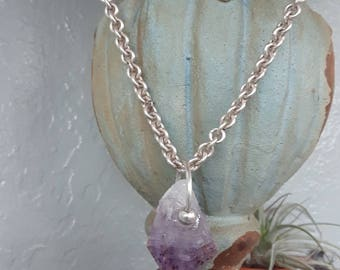 AMETHYST CRYSTAL STERLING silver necklace