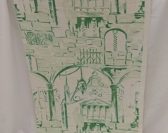 """1940's single vintage Greens & White Rayon Cotton Bark Cloth Curtain Panel   23.5"""" wide by 47"""" long Amazing scene of roman architecture"""