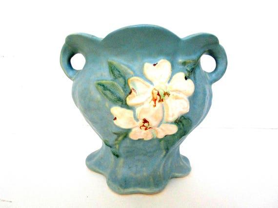 Weller Pottery Vase, Weller Dogwood, Weller White Flower, Blue Matte, Weller Pottery, Ohio Pottery, American Art Pottery