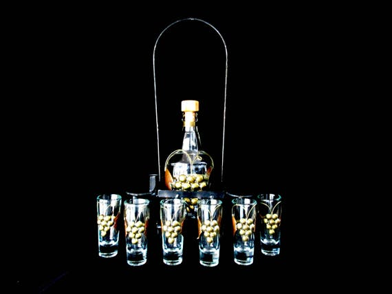 Grappa Set, Carafe and 6 Glasses, Brass Copper Grapes and Leaves as Sleeves, Black Metal Caddy for All, Mid Century, Made in Italy