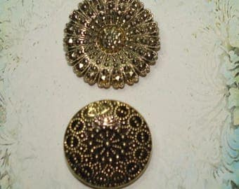2 Gold Tone Sparklely Scarf Clips - S2108